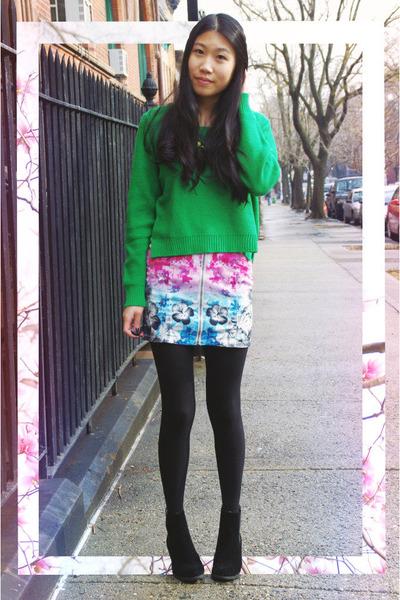 H&M skirt - PacSun boots - H&M sweater