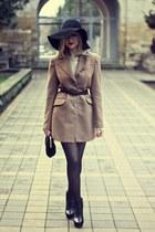camel Stradivarius coat - black Zara boots - black H&M hat