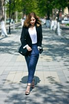 blue Zara pants - navy Topshop jacket - black Mango bag - black Zara heels