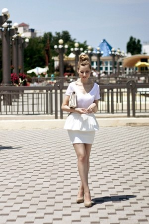 white River Island shirt - ivory Zara shoes - white Bershka bag
