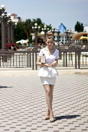 white River Island shirt - ivory Zara shoes - white Bershka bag