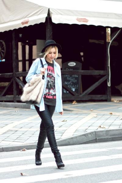 bubble gum new look t-shirt - black H&M boots - black H&M hat