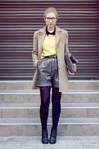 yellow H&M sweater - black H&M boots - camel Stradivarius coat