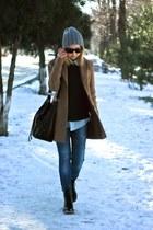 camel Stradivarius coat - blue Zara jeans