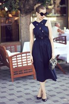 blue asos dress - black Zara shoes - black asos glasses