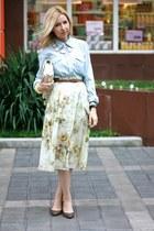 eggshell Mango skirt - camel Bershka shoes - light blue H&M blazer