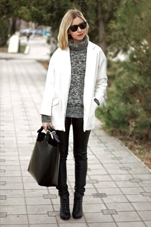 white Zara coat - black H&M boots - black Zara bag