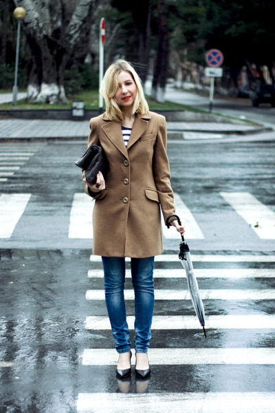 camel Stradivarius coat - blue Zara jeans - heather gray Mango bag