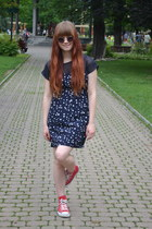 navy New Yorker dress - dark brown Gate sunglasses - ruby red Converse sneakers