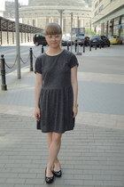 mustard casio watch - heather gray Topshop dress - white I am glasses