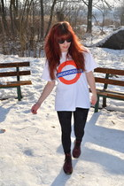 crimson Dr Martens boots - black H&M leggings - white bought in London shirt