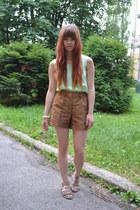 olive green vintage shirt - dark brown H&M shorts - light brown Bata sandals