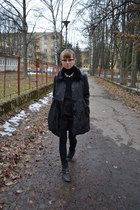black Funky Shoes boots - black New Yorker coat - black Orsay shirt