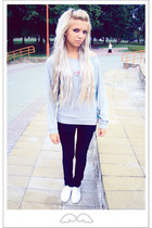 white Topshop shoes - black Levis jeans - aquamarine  necklace - silver Only jum