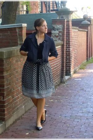 black BCBG skirt - blue ann taylor jacket - black ann taylor shirt - black payle