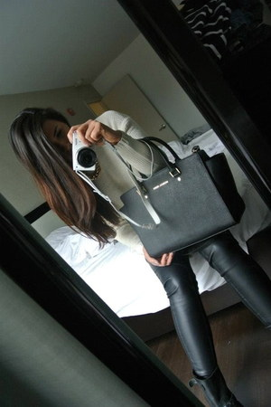 leather boots - knitted sweater - leather leggings - leather bag - necklace