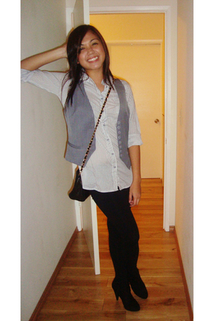 Forever 21 top - Forever 21 vest - Forever 21 leggings - payless boots - Chanel