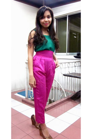 forest green The Ramp top - hot pink high-wasited escada pants - gold glittered