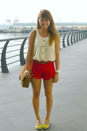 Nava shorts - co Nina de Roxas bag - yellow bow Nava flats - sheer top Nava top