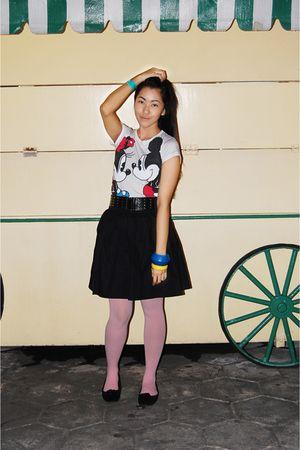 black skirt - black Ballet shoes - pink tights - white t-shirt - blue bracelet -