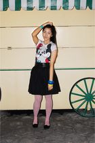 black skirt - black Ballet shoes - pink tights - white t-shirt - blue bracelet -
