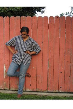 blue mens oversized shirt - blue Target jeans - brown Nine West shoes
