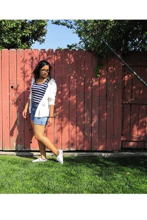 blue XXI shirt - blue shorts - white Target cardigan - white H&M shoes
