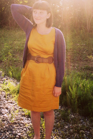 orange Maurices dress - purple H & M cardigan