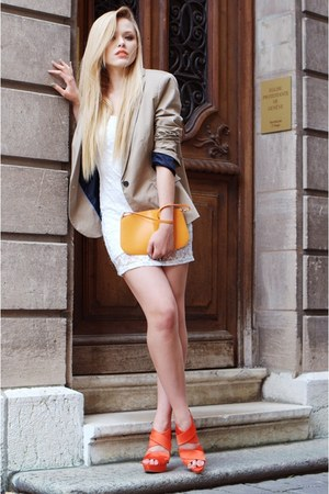 white lace H&M dress - beige Zara blazer - light orange leather bag Louis Vuitto