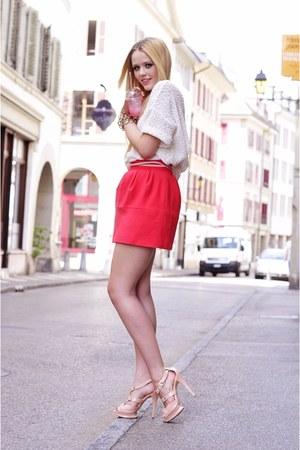 white H&M jumper - neutral Just Anna Shoes heels - salmon Zara skirt