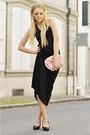 Black-h-m-dress-light-pink-chanel-bag-black-bally-heels