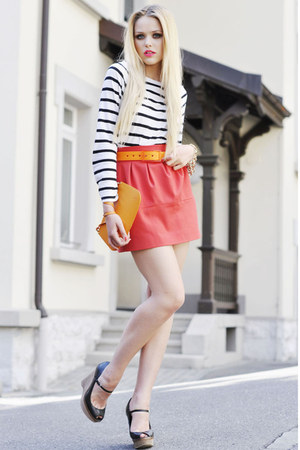 Zara skirt - Louis Vuitton bag - Tie-ups belt - Zara wedges - H&amp;M top