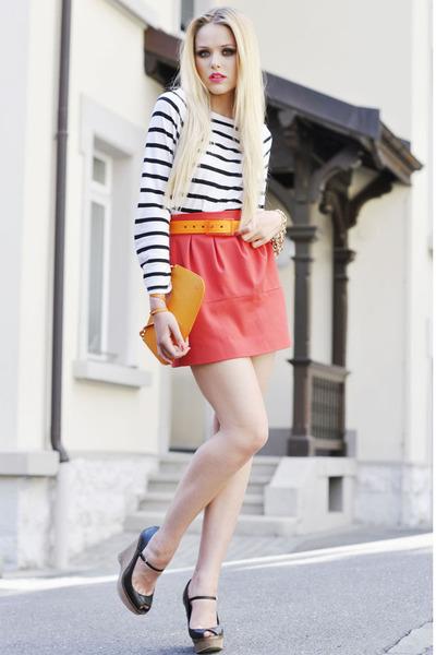 Zara skirt - Louis Vuitton bag - Tie-ups belt - Zara wedges - H&M top