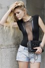 Black-chanel-purse-light-blue-zara-shorts-black-american-apparel-bodysuit-