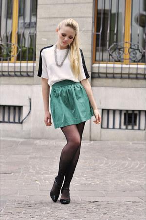 white Zara shirt - silver Claires necklace - turquoise blue Zara skirt - black M