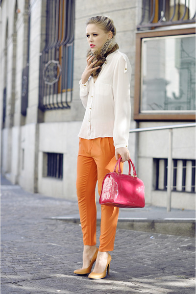 white Zara blouse - hot pink Victorias Secret bag - light orange romwe pants