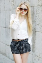 black polka dots H&M shorts - tawny Mango sunglasses - brown Zara belt - white Z