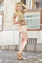 neutral Isabel Lu shorts - beige Isabel Lu shirt - light pink H&M bag