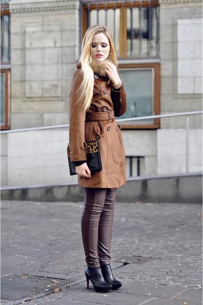 Mango heels - romwe coat - H&M leggings - Lodis bag