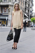 black Louis Vuitton bag - beige Love Clothing shirt - black Fabi heels