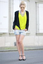 H&M blazer - Zara shirt - Zara shorts - MORGAN heels - vintage accessories