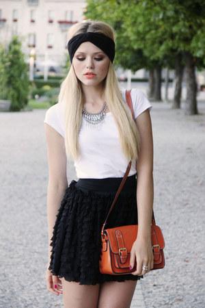 H&M shirt - Nasty Gal hat - romwe bag - H&M skirt - Fabi heels