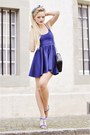 Blue-american-apparel-dress-black-chanel-bag-blue-zara-heels-white-h-m-acc