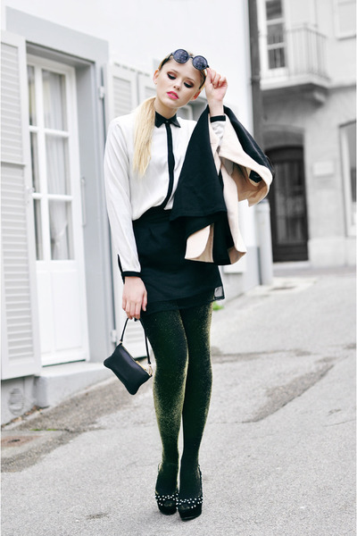 Zara blouse - Mango tights - Michael Kors bag - Style Sofia skirt - Zara heels