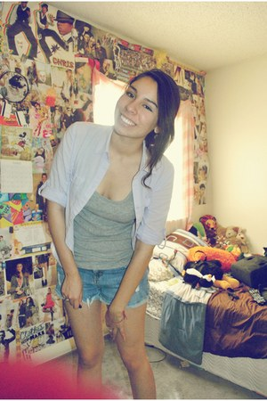 denim Forever 21 shorts - button down Forever 21 top - racerback Forever 21 t-sh