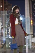 vintage boots - Etsy hat - vintage skirt - vintage blouse - vintage cardigan