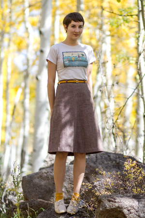 thrifted vintage skirt - thrifted shirt - Harajuku socks