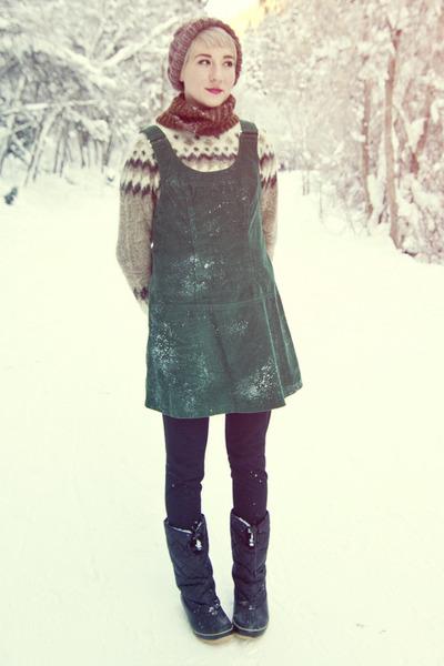 vintage sweater - Khombu boots - thrifted dress