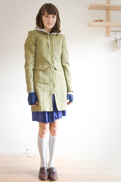 thrifted coat - thrifted dress - Target socks - vintage loafers
