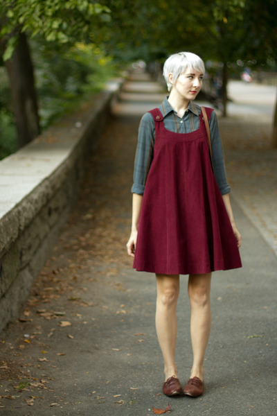 thrifted vintage blouse - Ebay dress - thrifted vintage flats